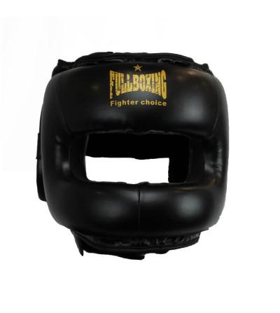 Casco boxeo con barra. Color Negro/Oro. Bushi Sport