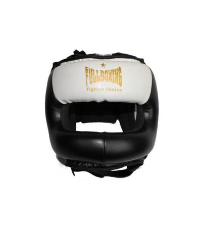 Casco de boxeo con barra en color negro y blanco. Bushi Sport.