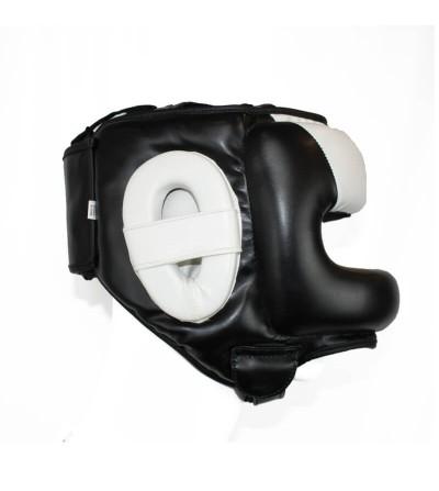 Casco de boxeo con barra en color negro y blanco.  Bushi Sport. (1)