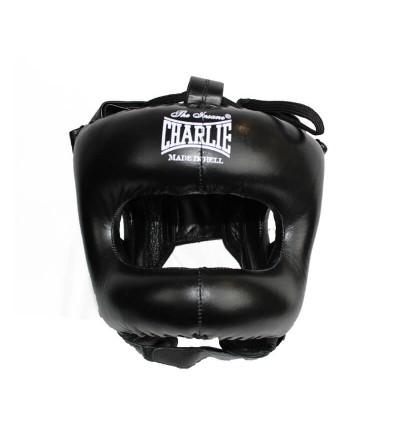 Casco de boxeo con barra;color negro; modelo H de Charlie. Bushi Sport. Tienda boxeo.