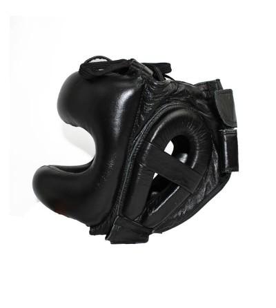 Casco de boxeo con barra;color negro; modelo H de Charlie. Bushi Sport. Tienda boxeo. (1)