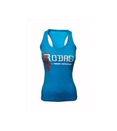 Camiseta con tirantes estilo nadadora en color azul turquesa. Bushi Sport.