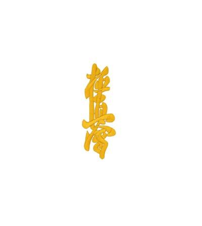 Kanji bordado Kyokushinkai en color dorado. Bushi Sport.