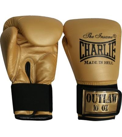 Guantes boxeo de piel. Color oro.  Modelo Ouwlat. Marca Charlie. Bushi Sport, tu tienda de boxeo.