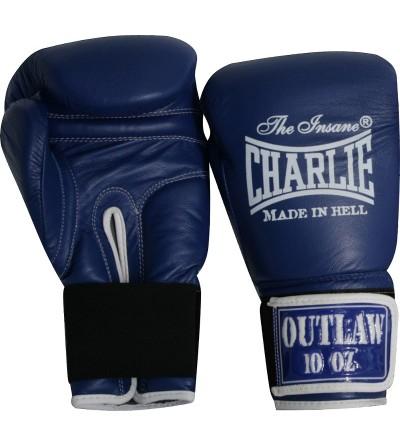 Guantes boxeo de piel. Color azul.  Modelo Ouwlat. Marca Charlie. Bushi Sport, tu tienda de boxeo.