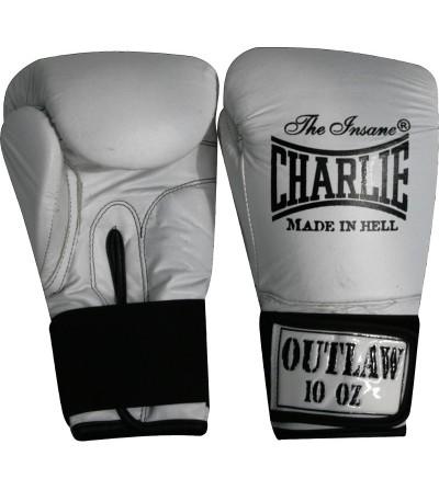 Guantes boxeo de piel. Color blanco.  Modelo Ouwlat. Marca Charlie. Bushi Sport, tu tienda de boxeo.