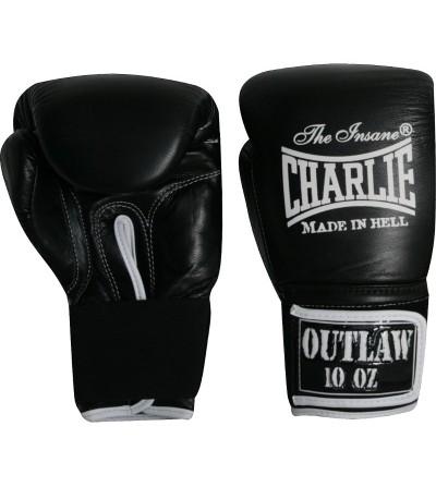 Guantes boxeo de piel. Color negro.  Modelo Ouwlat. Marca Charlie. Bushi Sport, tu tienda de boxeo.