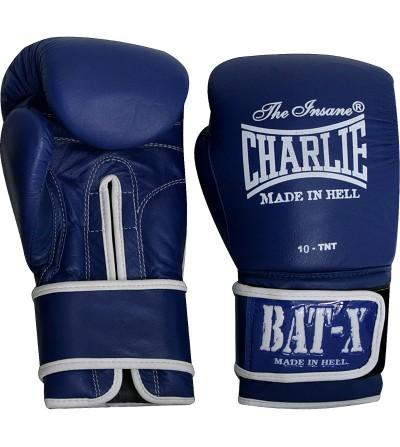 Guantes boxeo en piel. Color azul. Modelo Bat-X. Marca Charlie. Bushi Sport, tu tienda de boxeo.
