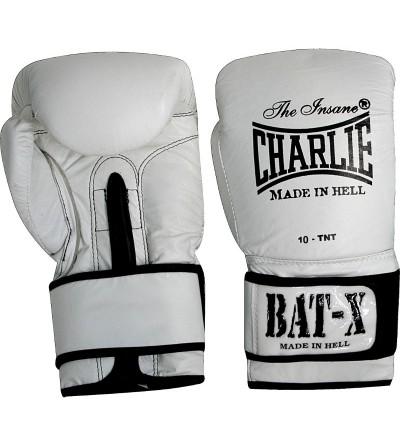 Guantes boxeo en piel. Color blanco. Modelo Bat-X. Marca Charlie. Bushi Sport, tu tienda de boxeo.