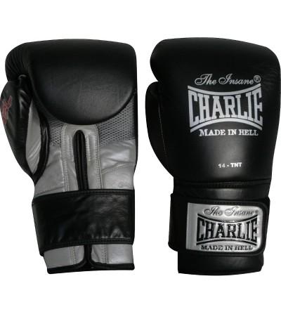 Guantes boxeo en piel. Color Negro/Gris. Palma transpirable. Marca Charlie. Bushi Sport, tu tienda de boxeo.